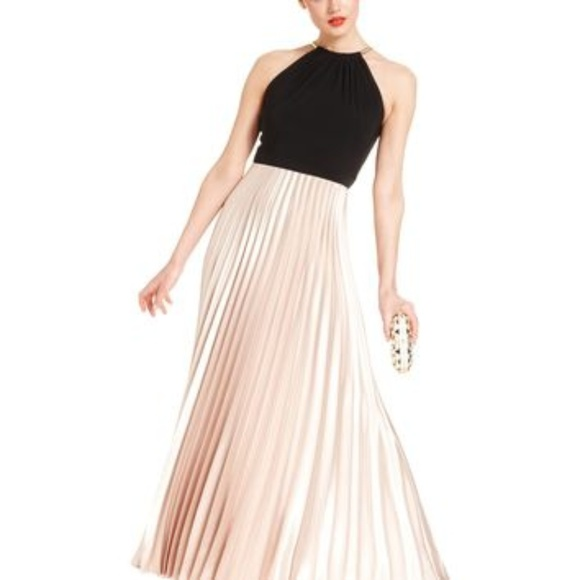 4166ed58 Xscape Dresses | Pleated Halter Dress Taupe Black Size 6 | Poshmark